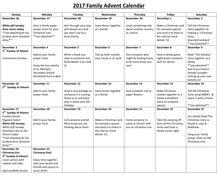 2017 Family Advent Calendar2